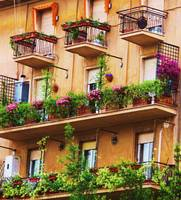 Rococo style Italian balconies overflowing flowers