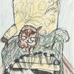 """Mama Cat with Afghan and Yellow Chair"" by elenafisch"