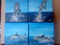 Dolphins x4   mini paintings
