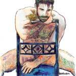 """The Blue Chair Portrait of Big Bear By Riccoboni"" by RDRiccoboni"