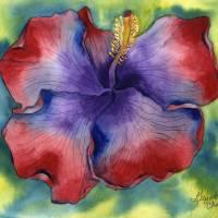 Red & Purple Groovy Hibiscus Art Prints & Posters by Gayela Chapman-McKelvie