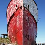 """Red and White Derelict Ship"" by shoes_on_wires"