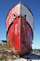 Red and White Derelict Ship