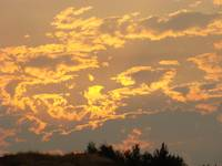 SUNSET Sunlit Clouds 5 Glowing Yellow Orange Sky