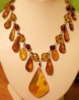 Amber from Poland, Black Spinel,14K Gold,Silver,