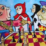 """Alice in wonderland Mad Hatter queen of hearts"" by GORDONBRUCEART"