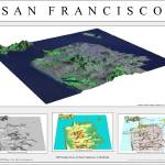 """3D Perspectives of San Francisco-Grey"" by BTMaps"