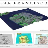 3D Perspectives of San Francisco-Grey Art Prints & Posters by BT Maps