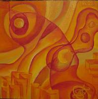 Abstract Red and Yellow - SOLD