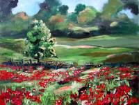Poppies Of Somme Oil Painting by Ginette