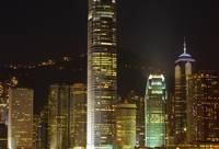 skyscrapers of hongkong at night