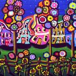 """Whimsical Trees Houses Blossoms"" by reniebritenbucher"