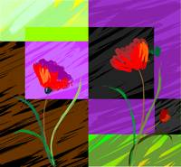 Digital painting of plant and flowers