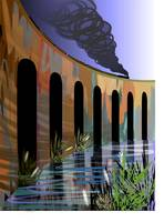 Digital painting of a long tall bridge