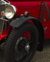 Red MG Wire Wheel Fender and Head Lamp