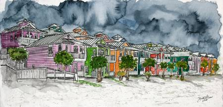 beach houses painting