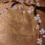 """plum blossoms on gold leaf"" by anitachamp"