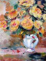Yellow Roses Still Life Oil Painting by Ginette