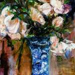"""White Roses Impressionist Still Life Oil Painting"" by GinetteCallaway"