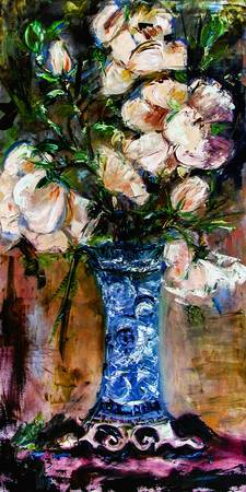 White Roses Impressionist Still Life Oil Painting
