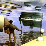 """Piano Invaders Whit Chaplin and a up side down  Br"" by rommelpinkus"