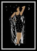 Poster Vintage Glamor Girl Black White with Border