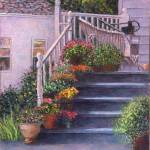"""Porch with Watering Cans"" by susansartgallery"