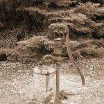 """""""old sephia handpump in woods, rustic"""" by jpt"""