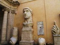 Colossal statue of head and hand of Constantine