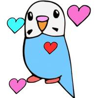 Budgie with Hearts
