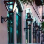 """Pink Building with Lanterns in Savannah"" by dav820"