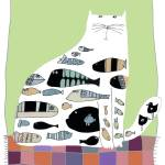 """CAT ON PATCHWORK RUG"" by PatMeyersPrints"