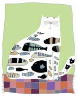 CAT ON PATCHWORK RUG