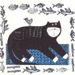 """BLACK CAT STAMPED"" by PatMeyersPrints"