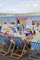 Relaxing on Weymouth Beach, Dorset, England