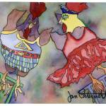 """Trapeze Chicken"" by janporterfieldwatercolors"