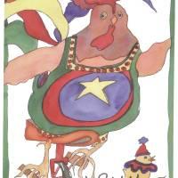 Unicyle Chicken Art Prints & Posters by Jan Porterfield