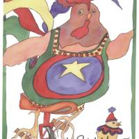 Unicyle Chicken Art Prints & Posters by Jan Porterfield