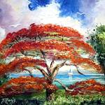 """Royal Poinciana Sailboat"" by mazz"