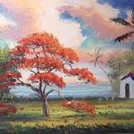 """Blooming Royal Poinciana Lake & Shack"" by mazz"