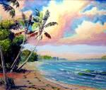 Tropical Beach by Mazz Original Paintings