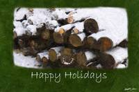 Firewood with Snow - Happy Holidays