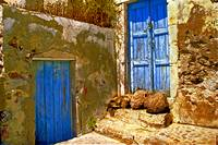 Blue Doors Of Santorini
