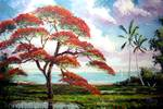 Blooming Royal Poinciana Tree by Mazz Original Paintings