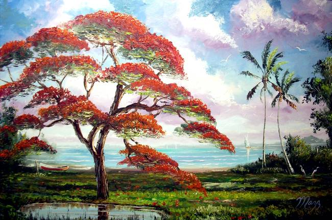 Contemporary Quot Royal Poinciana Tree Quot Artwork For Sale On