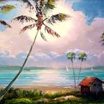 """Vivid Tropical Lake Shack"" by mazz"