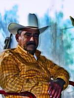Portrait of a Mexican Man Wearing a Cowboy Hat