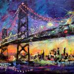 """City Night & Bridge From Original Painting by Gine"" by GinetteCallaway"