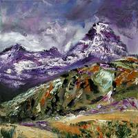 Rugged Mountain Landscape Oil painting by Ginette