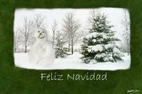 Snowman with Winter Trees - Feliz Navidad